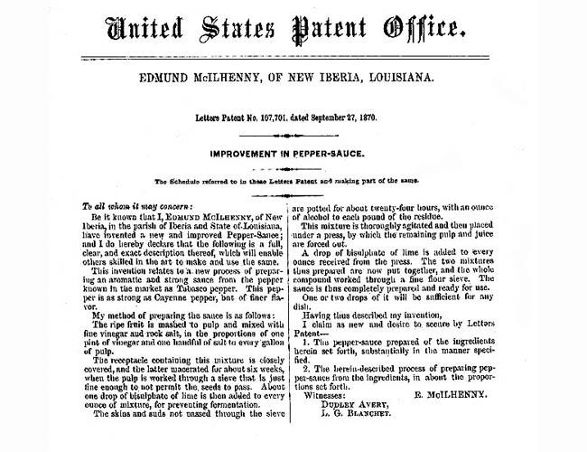 Edmund McIlhenny Patent